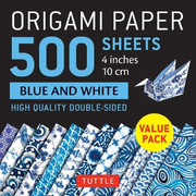 """Origami Paper 500 Sheets Blue and White 4"""" (10 CM): Tuttle Origami Paper: High-Quality Double-Sided Origami Sheets Printed with 12 Different Designs"""