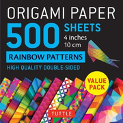 """Origami Paper 500 Sheets Rainbow Patterns 4"""" (10 CM): Tuttle Origami Paper: High-Quality Double-Sided Origami Sheets Printed with 12 Different Pattern"""