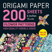 Origami Paper 200 Sheets Flower Patterns 6 (15 CM): High-Quality Double Sided Origami Sheets Printed with 12 Different Designs (Instructions for 6 Pro