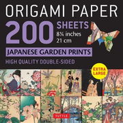 """Origami Paper 200 Sheets Japanese Garden Prints 8 1/4"""" 21cm: Extra Large Tuttle Origami Paper: High-Quality Double Sided Origami Sheets Printed with 1"""