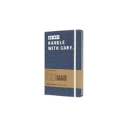 "Moleskine Notizbuch - Denim, L/A5, Liniert, Hard Cover, ""Handle with care"""