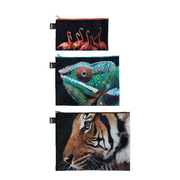 LOQI National Geographic Tiger, Chameleon, Flamingos Zip Pockets