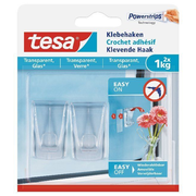 TESA 77735-00000, Indoor, Universal hook, Transparent, Adhesive strip, 1 kg, Glass