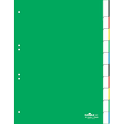 Durable Index With Sealed Tabs And Insert Labels 10, Blank tab index, Green, Portrait, A4, 230 mm, 297 mm