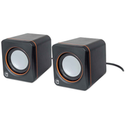 Manhattan 2600 Series Speaker System, Small Size, Big Sound, Two Speakers, Stereo, USB power, Output: 2x 3W, 3.5mm plug for sound, In-Line volume control, Cable 0.9m, Black, Three Year Warranty, Box