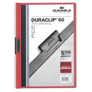 Durable Duraclip 60 report cover PVC Red, Transparent