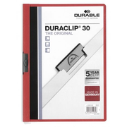 Durable Duraclip 30 report cover PVC Red, Transparent