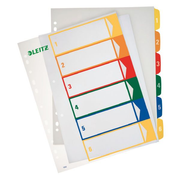 Leitz PC printable Index, PP, extra wide, Numeric tab index, Polypropylene (PP), Blue, Green, Orange, Red, Yellow, 245 mm, 2 mm, 305 mm