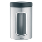 Brabantia Matte Steel 1.4L Window Canister Set, 6 pcs Round Stainless steel 6 pc(s)
