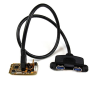 StarTech.com 2 Port SuperSpeed Mini PCI Express USB 3.0 Adapter Card w/ Bracket Kit and UASP Support, PCIe, USB 3.2 Gen 1 (3.1 Gen 1), 1 x IDC, 1 x SP4, 1 x Mini PCI Express x1, 2 x USB 3.0 A, Black, FCC, CE, Renesas - uPD720202