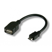 Techly USB2.0 OTG Cable A Female / Micro B Male 0.2 m ICOC UOTG-194, 0.2 m, Micro-USB B, USB A, 2.0, Male/Female, Black