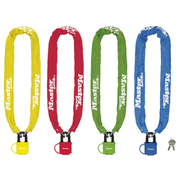 MASTER LOCK 90cm long x 6mm hardened steel chain with 40mm laminated steel padlock; assorted colours