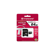 Transcend microSDXC/SDHC Class 10 64GB with Adapter