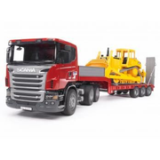 BRUDER SCANIA R-series Low loader truck, CAT Bulldozer