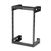 """StarTech.com 15U 19"""" Wall Mount Network Rack - 12"""" Deep 2 Post Open Frame Server Room Rack for Data/AV/IT/Computer Equipment/Patch Panel with Cage Nuts & Screws 200lb Capacity, Black (RK15WALLO)"""
