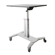 StarTech.com Mobile Standing Desk - Portable Sit Stand Ergonomic Height Adjustable Cart on Wheels - Rolling Computer/Laptop Workstation Table with Locking One-Touch Lift for Teacher/Student