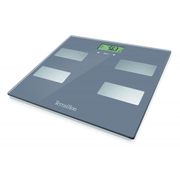 Terraillon Scan Chestnut, Electronic personal scale, 160 kg, 100 g, kg, Square, Grey, Stainless steel