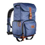 Mantona Luis junior backpack Blue, Brown Leather, Metal, Polyester, Synthetic