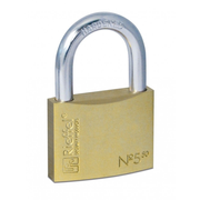 Rieffel 5/50, Conventional padlock, Key lock, Brass,Stainless steel, Brass, Steel, U-shaped