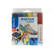 Pilot Pintor Classic marker 6 pc(s) Bullet tip Black, Blue, Green, Red, White, Yellow