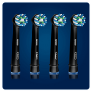 Oral-B CrossAction Toothbrush Head Black, Pack of 4 Counts, Black Edition