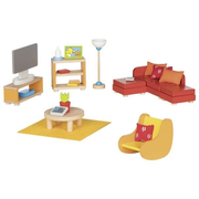Goki Furniture for flexible puppets, living room Doll furniture set