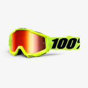 100% Accuri winter sport goggles Yellow Unisex Mirror, Red Cylindrical(flat) lens