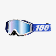 100% Racecraft winter sport goggles Black, Blue, White Unisex Blue, Multi Cylindrical(flat) lens