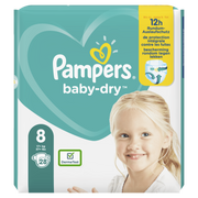 Pampers Baby-Dry Size 8, 28 Nappies, Up To 12h Protection, 17kg+, Boy/Girl, Tape diaper, 17 kg, White, Velcro, 12 h