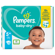 Pampers Baby-Dry Size 5+, 36 Nappies, Up To 12h Protection, 12-17kg