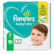 Pampers Baby-Dry Size 7, 31 Nappies, Up To 12h Protection, 15kg+