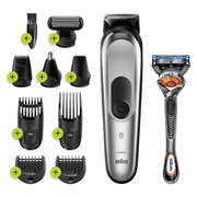 Braun 10-in-1 Trimmer MGK7220 Men Beard Trimmer, Body Grooming Kit & Hair Clipper, Silver Grey