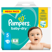 Pampers Baby-Dry Size 5, 76 Nappies, Up To 12h Protection, 11-16kg