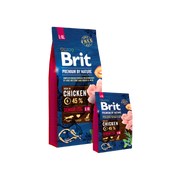 Brit Premium by Nature Senior L+XL, Senior, Apple, Chicken, Corn, 15 kg, Vitamin A,Vitamin D3,Vitamin E, chicken 45% (dehydrated 25%, deboned 20%), oats, wheat, corn, apples dried, chicken fat (preserved..., Analytical ingredients: crude protein 27.0 %, fat content 14.0 %, moisture 10.0 %, crude ash 7.2...