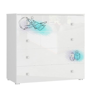 Tuckano Chest of 4 drawers 100x93x47 BELLA 06 white/white gloss/perfume print