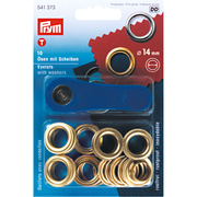 Prym Eyelets and washers, 14.0mm, gold-coloured