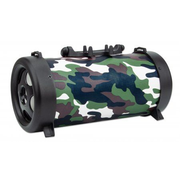 Manhattan Camouflage Bluetooth Speaker (promo), 3 hour Playback time, FM Radio, Range 10m, microSD card reader (32GB), Aux 3.5mm connector, Output 3W, USB-A charging cable included (5V charging), 1200mAH battery, Bluetooth v5, Boxed