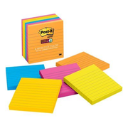 Post-It Super Sticky Notes, 4 in x 4 in, Rio de Janeiro Collection, Lined, 6 Pads/Pack