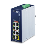 PLANET IP30 Industrial 4-Port Power over Ethernet (PoE) Blue, White