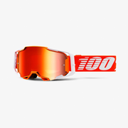 100% Armega winter sport goggles Orange, White Unisex Mirror, Red Cylindrical(flat) lens