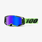 100% Armega winter sport goggles Black, Lime Green Unisex Blue Cylindrical(flat) lens