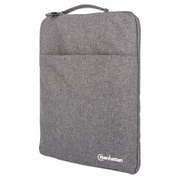 """Manhattan Seattle Laptop Sleeve 15.6"""", Grey, Padded, Extra Soft Internal Cushioning, Main Compartment with double zips, Zippered Front Pocket, Carry Loop, Water Resistant and Durable"""