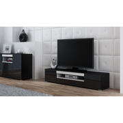 Cama TV stand VIVA 180 black/black gloss + white