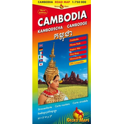 Kambodscha, Cambodia, Cambodge - Strassenkarte /Cambodia Road Map 1:750000, Phnom Penh 1:15000, Angkor Wat Area 1:150000, Siem Reab 1:17000, Sihanoukville Dowtown 1:20000, Sihanoukville Area 50000, Ream National Park 150000, Provinces of Cambodia, Road Distances and Clima, GPS-compatible. Legende: Engl., Dt., Ital., Franz., Khmer, Jap.