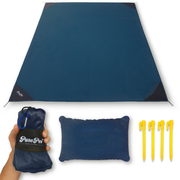 PuruPoi Super-Lightweight XXL Picnic Blanket + Cushion Combo Set with Triple Effect: Waterproof, Tear-Resistant, Compact for Hiking, Outdoors, Countryside, Beach, Travelling - Pocket Blanket 2019, 180x140 cm, dark blue