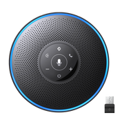 eMeet OfficeCore M2 Conference Speaker (including 4 AI Array Microphones and echo & noise cancellation, 10 hours battery life, suitable for up to 8 people, Bluetooth, AUX, USB, 360° voice recognition)