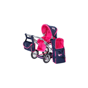 Puppenwagen Ruby - flying hearts blue pink