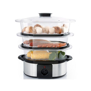 Ohmex OHM-STC-1103 steam cooker 3 basket(s) Countertop 800 W Black, Stainless steel