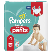 Pampers Baby-Dry Pants Size 4, 32 Nappies, 9kg-15kg