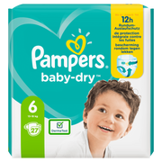 Pampers Baby-Dry Size 6, 27 Nappies, Up To 12h Protection, 13-18kg